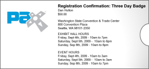 PAX Registration 2009 Confirmation